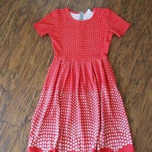 LuLaRoe red and white dress.